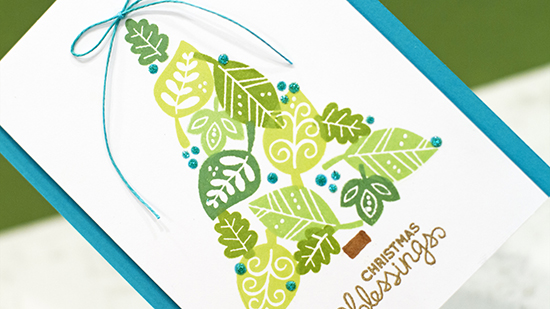 Christmas tree created from leaves by Jennifer McGuire | Falling into Autumn Stamp set by Newton's Nook Designs
