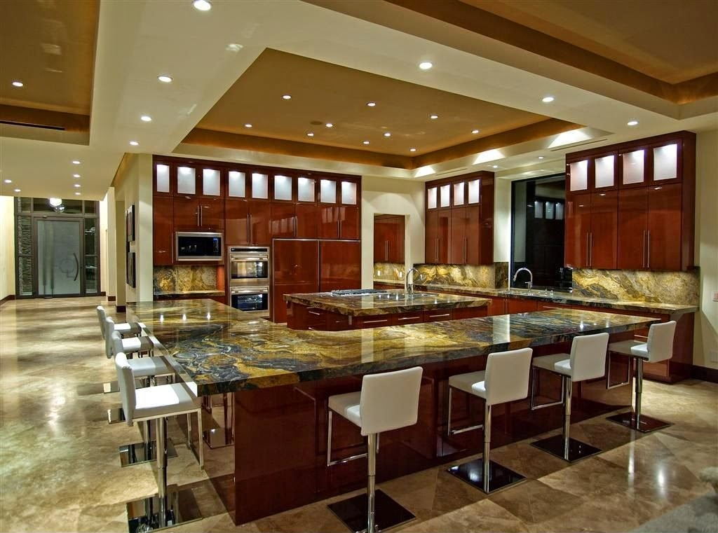 Luxury Italian Kitchen Large Design With Modern False Ceiling Design