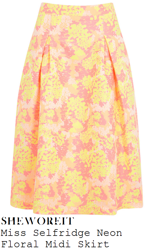 lauren-pope-peach-orange-pink-and-yellow-floral-print-high-waisted-full-midi-skirt-polo