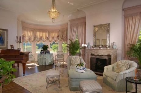 sitting room with piano in pacific heights luxury mansion home in san francisco