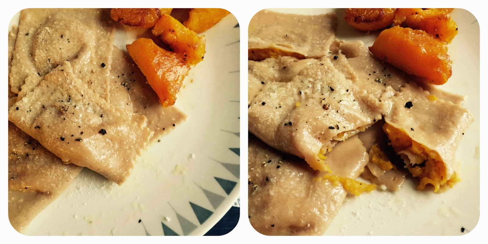 Two close-up of chestnut pumpkin ravioli. Second image shows open ravioli with filling oozing out.
