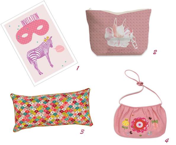 articles roses : cartes d'invitation, trousse danseuse, coussin rectangle écailles de Mini Labo, sac rose brodé fleurs Sac Mini Labo