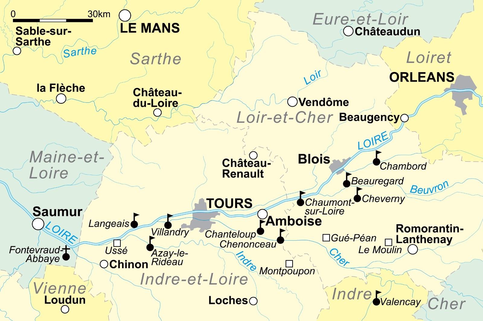 frankrijk loire kaart