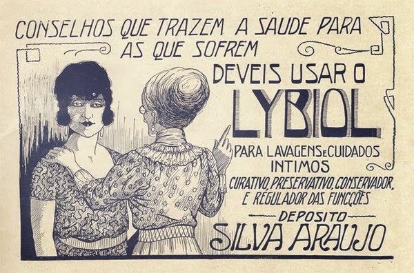 Propaganda do Lybiol para cuidados e higiene íntima feminina em 1924.