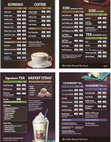 Caribou Coffee Menu