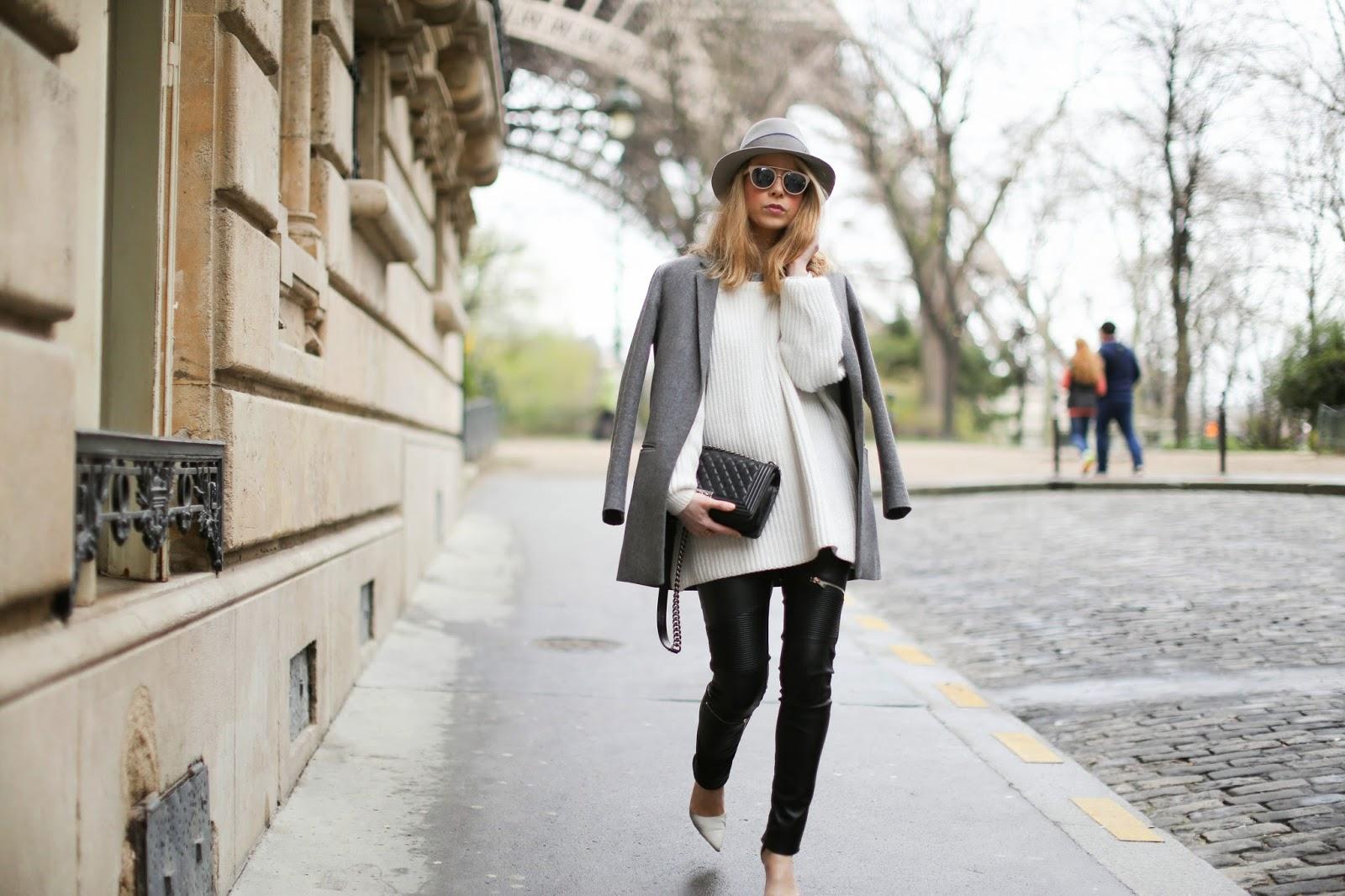 eiffel tower, streetstyle, cos, &otherstories, chanel, maison michel, zara, fashion blogger, neutrals