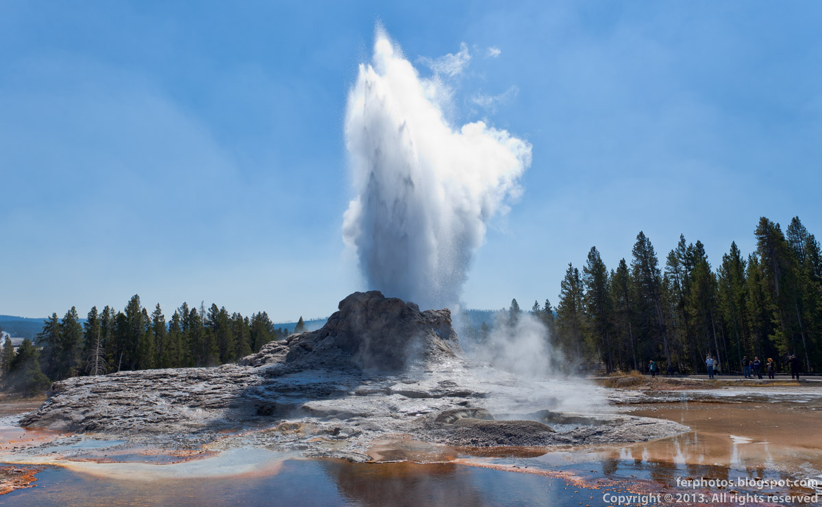 Castle Geyser eruption steam Upper Geyser Basin cone geyser Old Faithfull Yellowstone