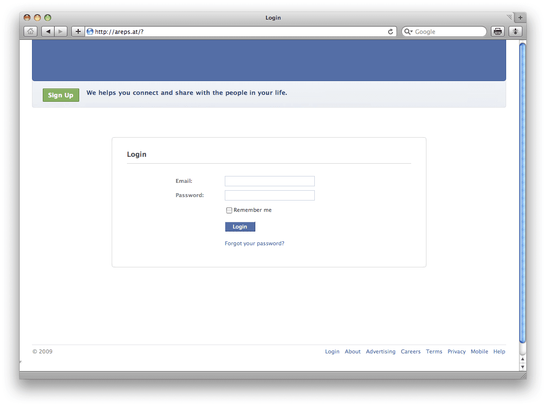 Facebook Hut: facebook log in