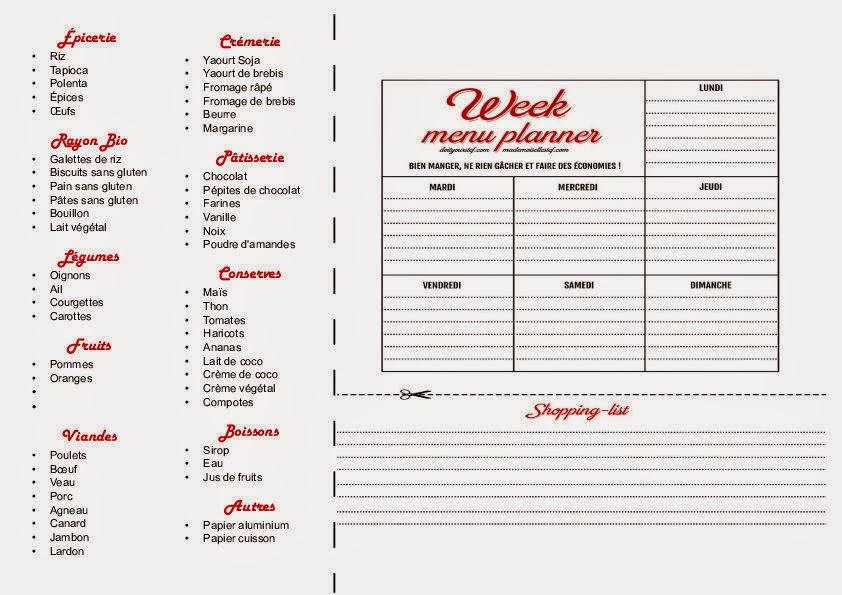 planning repas et liste de courses les jolies cavali res. Black Bedroom Furniture Sets. Home Design Ideas