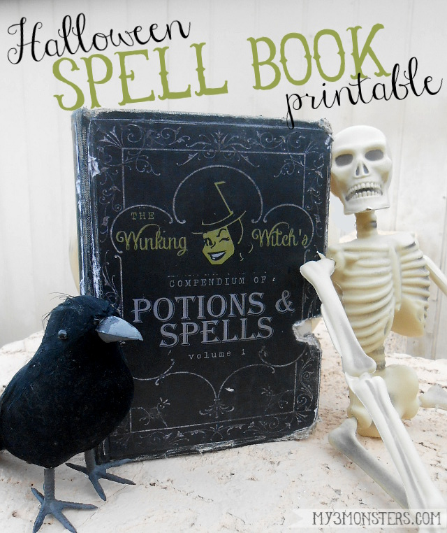 Free Halloween Spell Book Printable from my3monsters.com