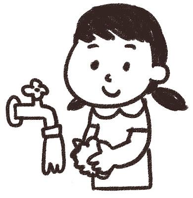 手を洗う女の子のイラスト 白黒線画