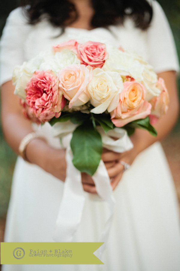 Pink, Peach and White bouquet : Photo by Paige and Blake Green