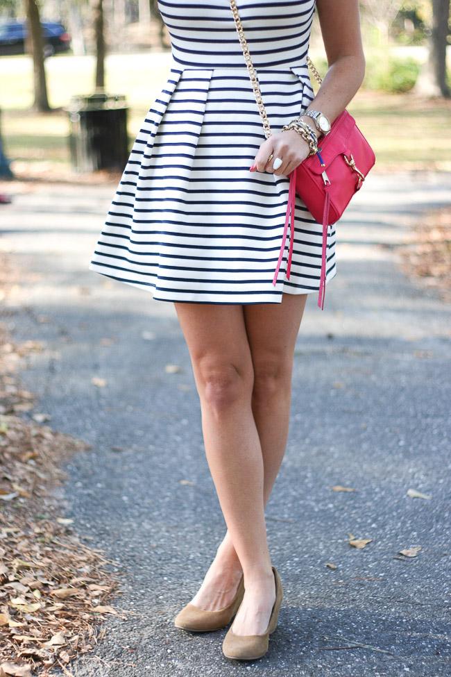 564cf11e75c Dress   Sleeveless Pleated Dress in Navy Stripes
