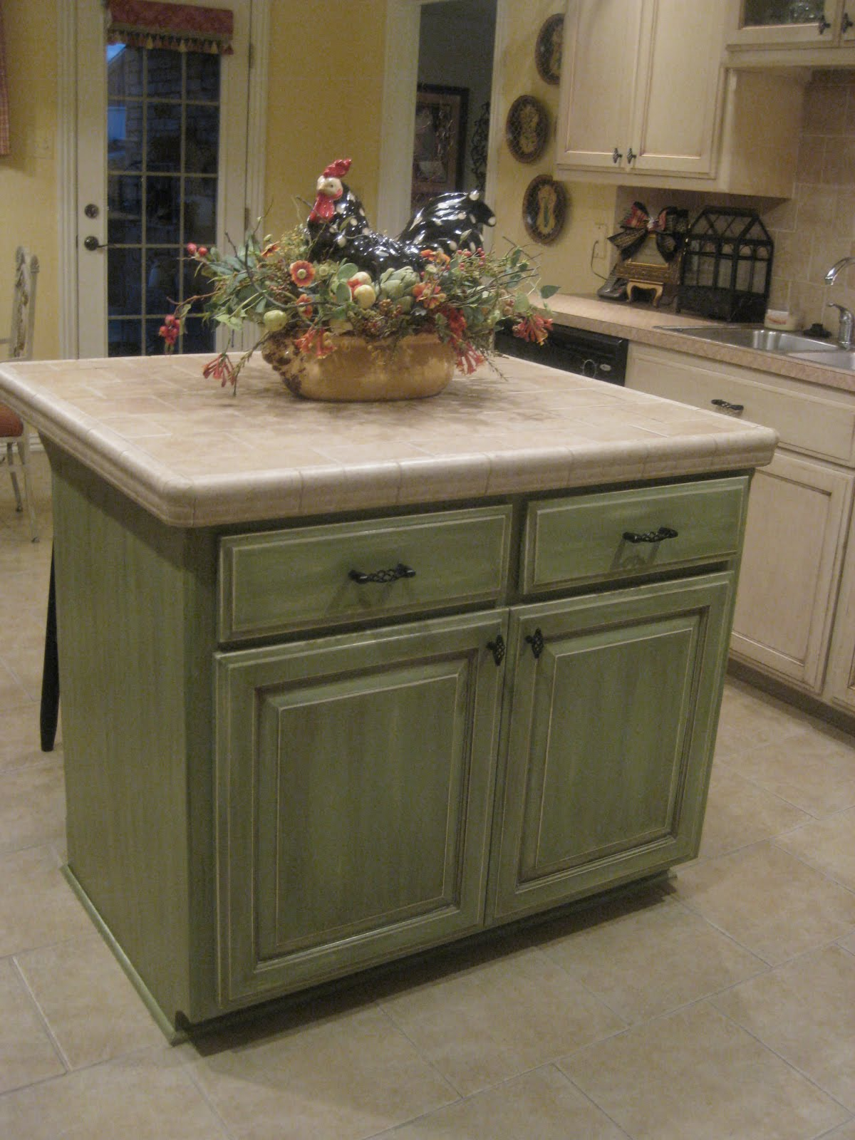 Green Glazed Kitchen Cabinets