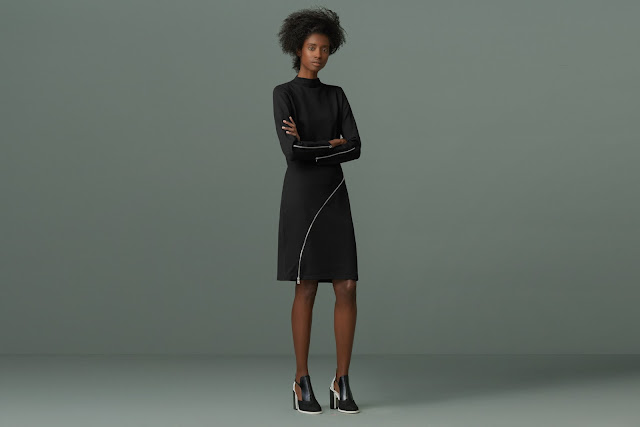 finery black zip dress,