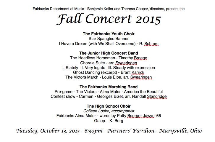Fall Concert Program