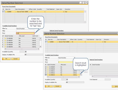 SAP Business One Enable Searching Serial and Batch Numbers