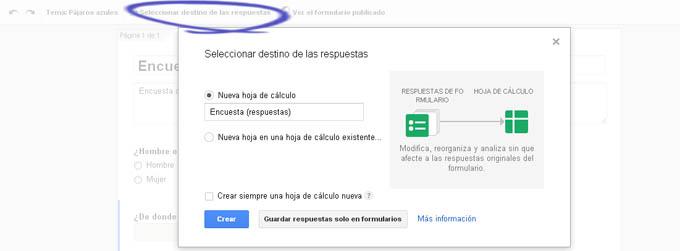 Crear formulario en google hoja respuestas