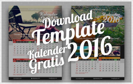 Download Gratis Template Kalender 2016 Terbaru