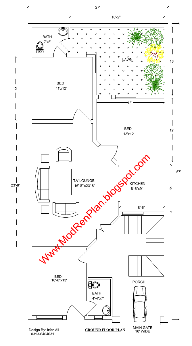Sample Front Elevation Map : Marla house plan