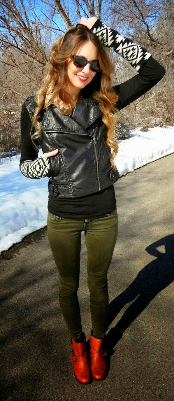 Amazing Knitted Sleeve Black Leather Moto Jacket, with Green Pant and Brown Boots