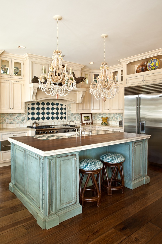 1000 images about turquoise kitchen cabinets on pinterest for Blue distressed kitchen cabinets