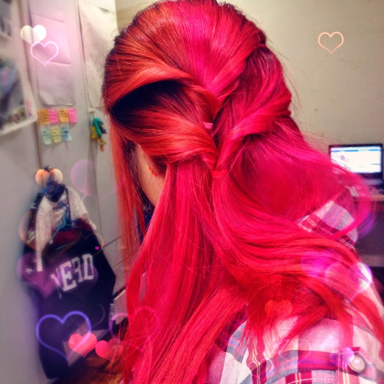 halway braid, Vibrant pink hair, Pastel pink hair, Pink hair, Cute