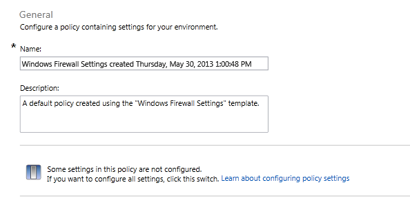 windows firewall policy options all items are configurable