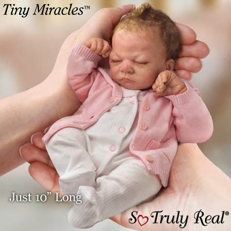 Andrea Arcello Tiny Miracles Ashley Collectible Lifelike Miniature Breathing Baby Doll