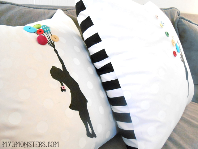 Silhouette & Button Art Pillow Covers at my3monsters.com