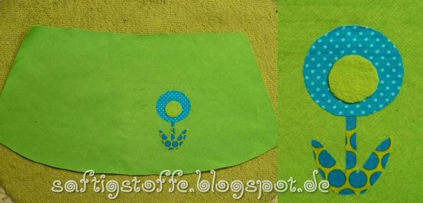 Kinder-Winterrock aus grünem Seat-Stoff mit Blumen-Applikation