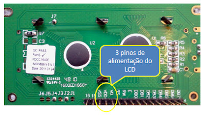 As conexões Display LCD