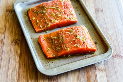 salmon coming to room temp for Easy Recipe for Greek Salmon Cooked in a Grill Pan found on KalynsKitchen.com