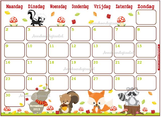 kalender voor kinderen, print kalender, kalender printable, herfst kalender, kalender voor de herfst