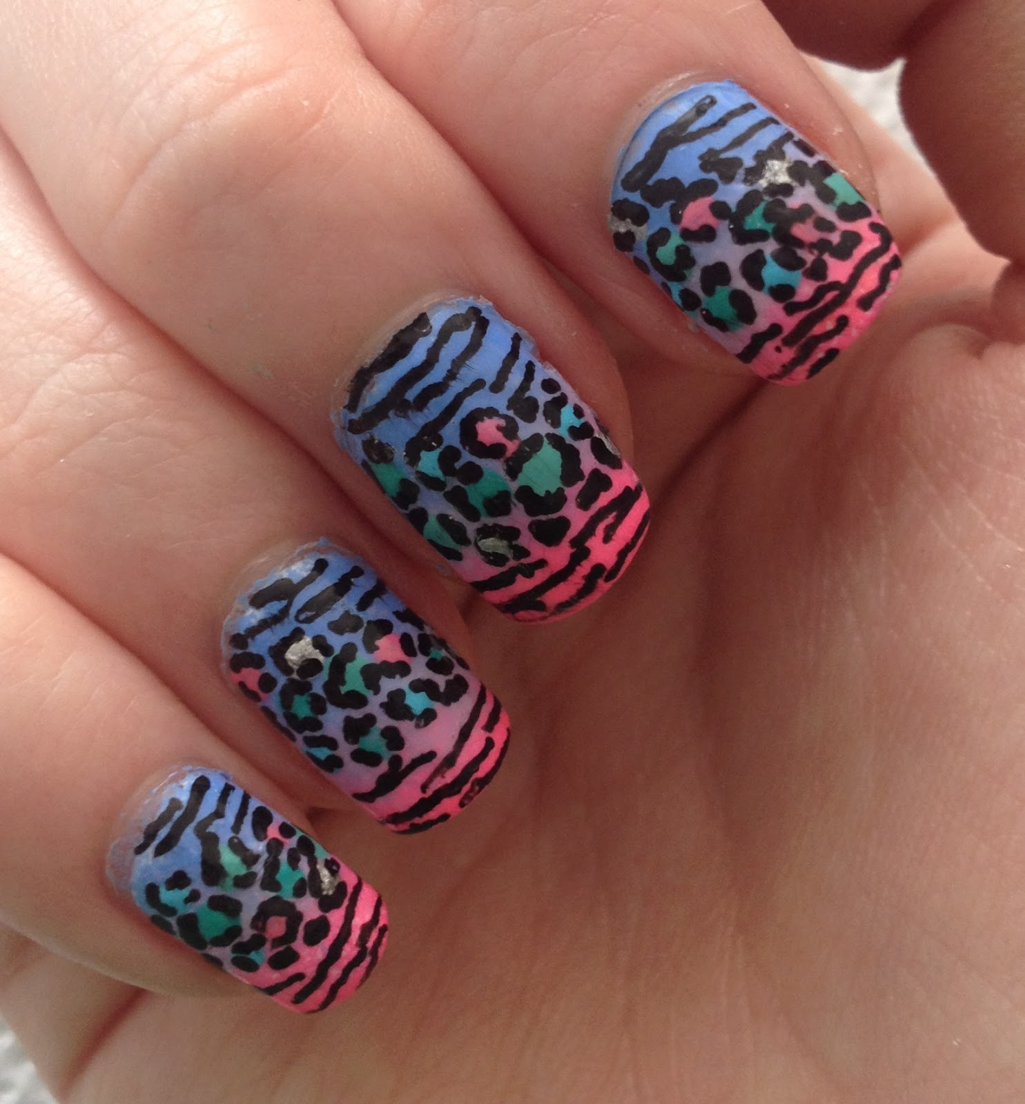 Ombre Animal Print Nails