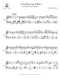 """Piano Pero mira como beben los peces en el río Partitura para Flauta, saxofón alto, flauta travesera, vioín, trompeta, clarinete, trombón, saxo soprano, saxo tenor y flauta de pico y dulce. Partitura del villancico """"La Virgen se está Lavando"""" toda una colección de partituras de villancicos a vuestro alcance en diegosax"""