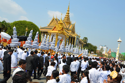 Funeral procession of King Norodom Sihanouk, Royal Palace, Phnom Penh, Cambodia