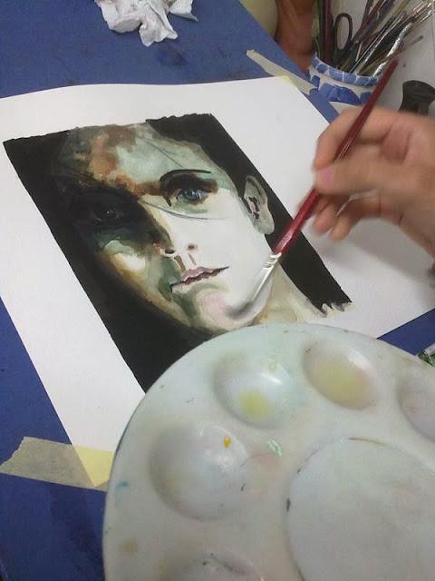 segunda parte del proceso de retrato con tinta y acuarela