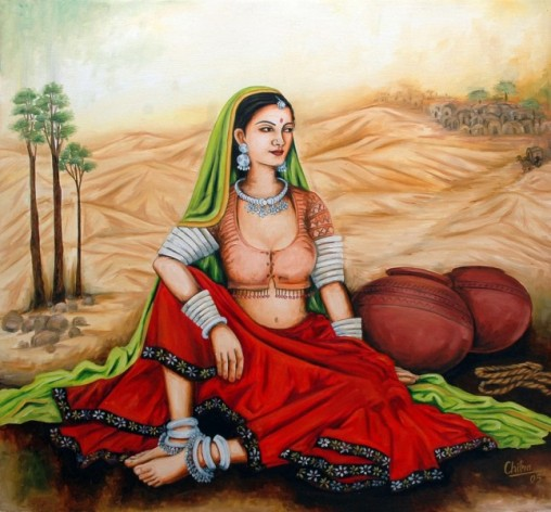 Rajasthani Girls Art Paintings 13