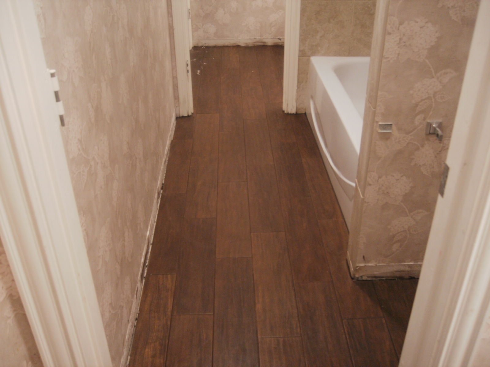 Stagger the wood floor tile wood floor tile pinterest Tile looks like wood floor
