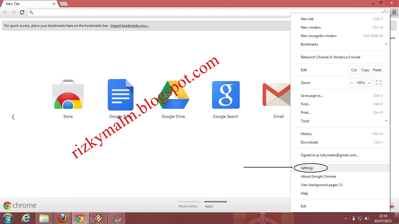 """Clik """"Cuztomize and Control Google Chrome"""" di bagian pojok kanan"""