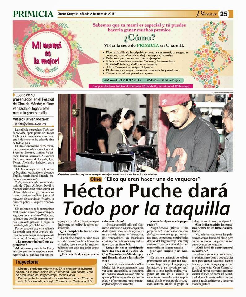 Hector Puche dará TODO POR LA TAQUILLA