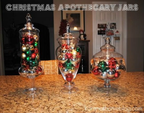 i have three apothecary jars sitting on my kitchen island that i normally fill with plastic fruit to give a punch of color to our kitchen
