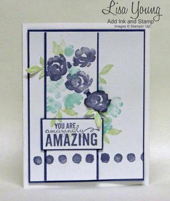 Stampin' Up! Painted Petals stamp set in Wisteria and Coastal Cabana. Clean and simple floral card hand stamped by Lisa Young