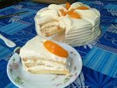 Snowy Peach Cake