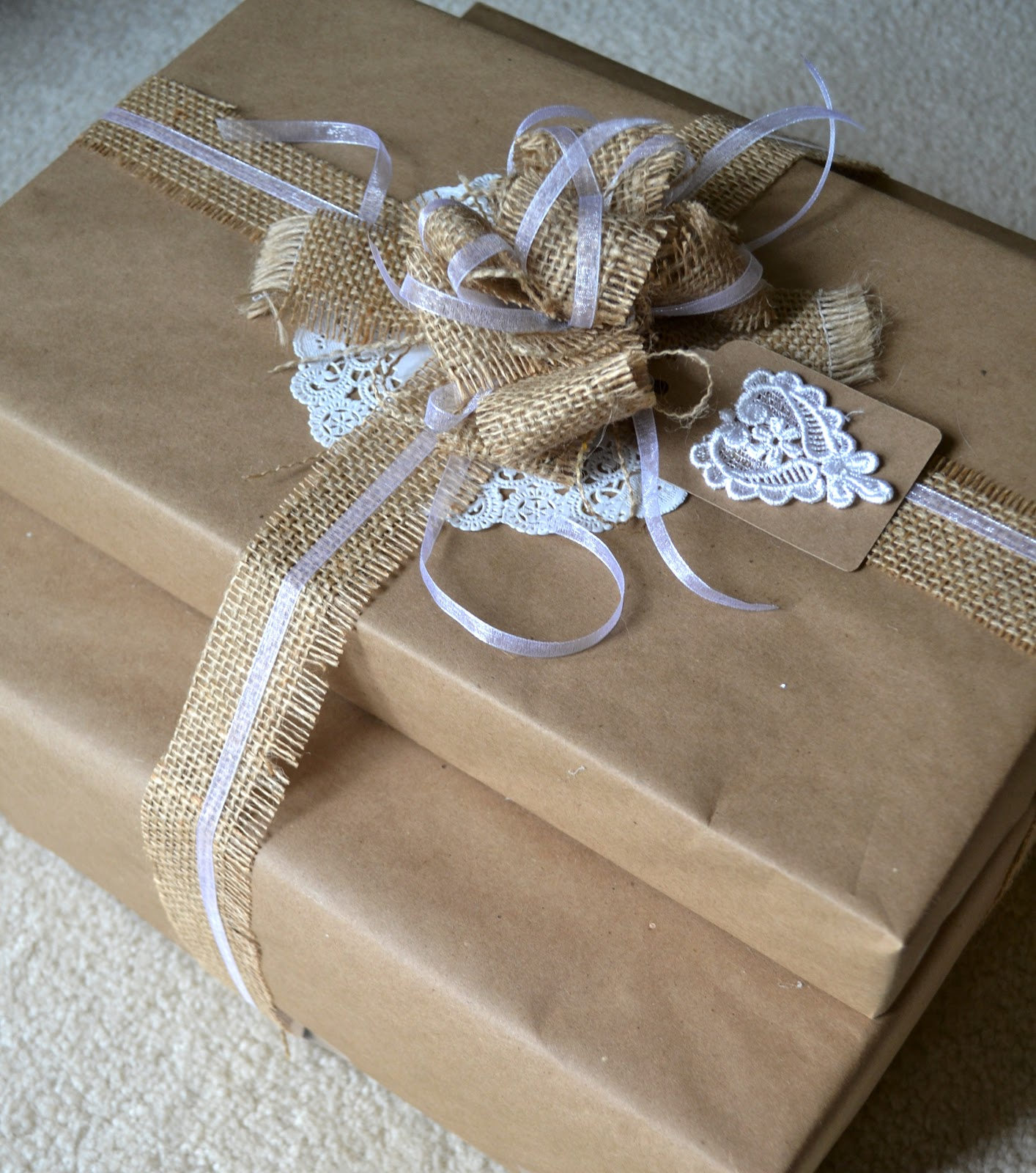 Ideas For Bridal Shower Gift Bags : used kraft paper made out of recycled materials, burlap, a doily and ...