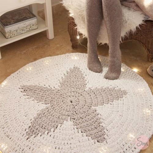 Patrones trapillo alfombra redonda con estrella en el centro - Tutorial alfombra trapillo ...