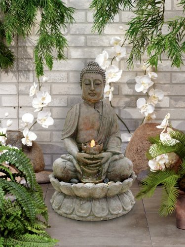 buddha garden fountain statue garden buddha statues. Black Bedroom Furniture Sets. Home Design Ideas