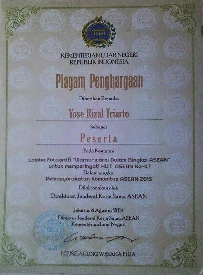 Piagam Lomba Fotografi Kemenlu Setditjen Kerja Sama ASEAN
