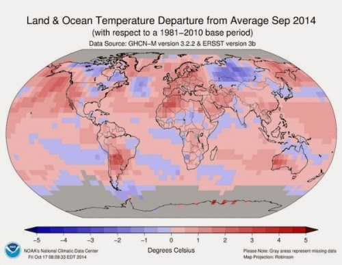 The amount that temperatures around the world departed from the 1981-2010 average in September 2014 (in degrees Celsius).  (Credit: NOAA) Click to enlarge.